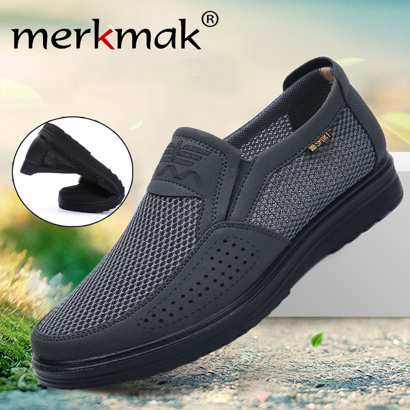 Merkmak Comfortable Men Casual Shoes Breathable Mesh Summer Men Shoes 2020 New Non-slip Lightweight Sneakers for Men Big Size 48