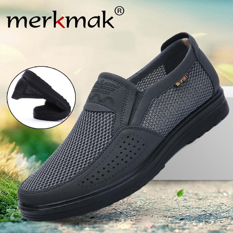 Merkmak Comfortable Men Casual Shoes Breathable Mesh Summer Men Shoes 2020 New Non-slip Lightweight Sneakers For Men Big Size 48