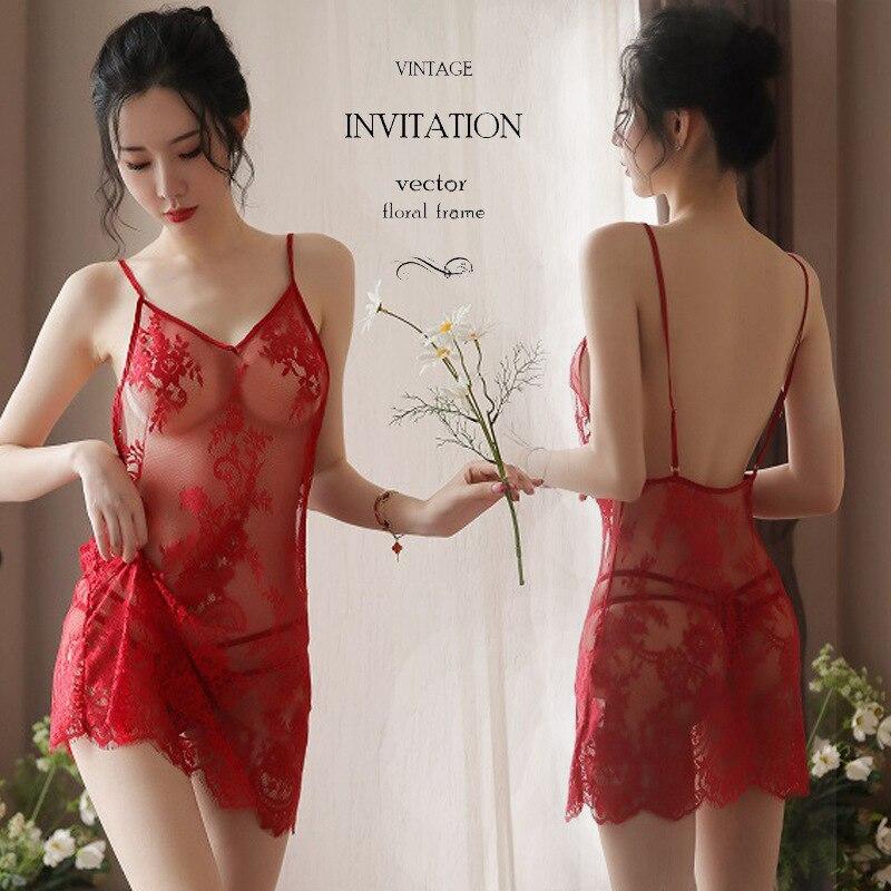 Sexy transparente tentação sexy vestido de malha sling lingerie camisola de renda