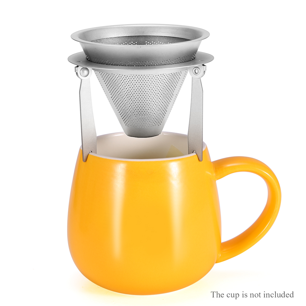 Titanium Coffee Filter with Bracket Detachable Coffee Funnel Stand Tea Strainer