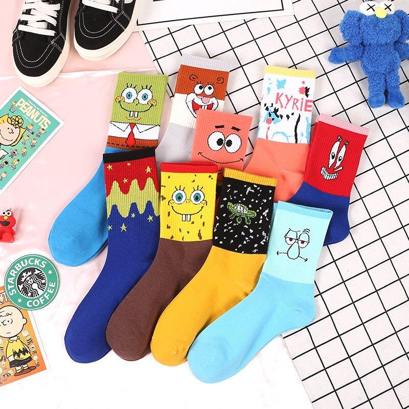 Bob Esponja Funny Socks Men Patrick Star Squidward Tentacles Joker Novelty Cartoon Socks Spring Summer Cotton Sock