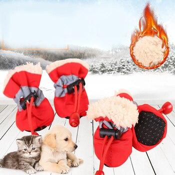 HOT 4pcs Inverno Pet Cane Impermeabile Scarpe Anti-slittamento Stivali Da Pioggia Neve Calzature Caldo di Spessore Per Gatti di Piccola Taglia cani Calzini e Calzettoni Stivaletti Top 1
