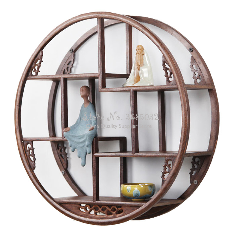 Round Wooden Wall Hanging Rack Wood Small Tea Stand Ancient Solid Wood Chinese Teapot Tea Racks Antique Decorative Shelves