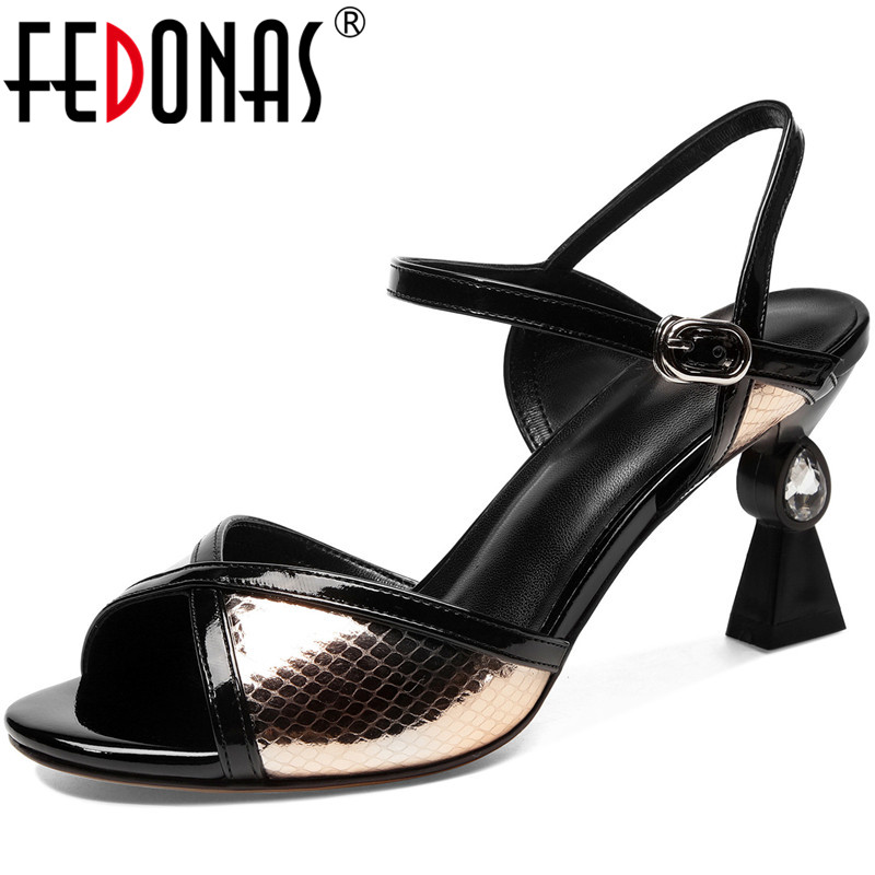FEDONAS Genuine Leather Mixed Colors Ladies Sandals Fashion New Arrival High Heels Pumps 2020 Summer Working Office Shoes Woman