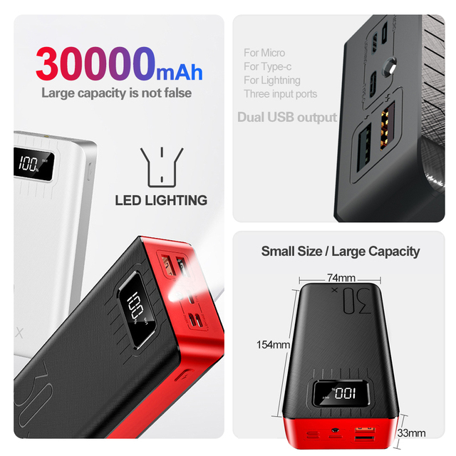30000mAh Power Bank Portable Charging Poverbank Mobile Phone External Battery Charger Powerbank 30000 mAh for Xiaomi Mi 4