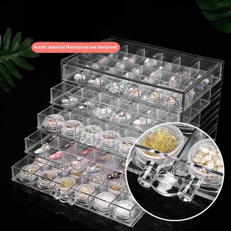 120 Grid Nail Jewelry Storage Box 5-Layer Transparent Jewelry Storage Box Diamond Organizer Display Stand Acrylic Drawer Plastic