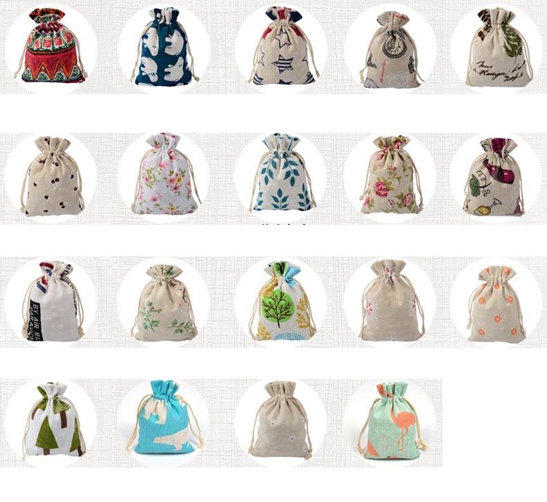 50pcs 10*14cm Cartoon Drawstring Bag Printed Cotton Linen Bundle Pocket  Burlap Bag Candy Jewelry Nuts Cookie Bag Party Favors