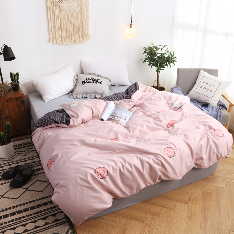 Women Pink Strawberry Printed Duvet Cover 1 Pc Comforter/Quilt/Blanket Cover With Zipper Twin Full Queen King Size Free Shipping