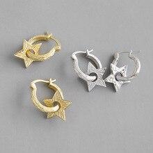 pure silver earrings to restore ancient ways small simple pentagonal star earrings personality joker silver earrings