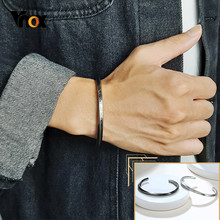 Vnox Stijlvolle Twisted Metal Heren Bangle Mobius Desgin Geef Nooit Inspirational Gegraveerd Vintage Rvs Manchet Armband