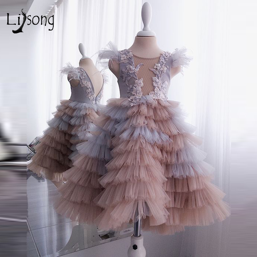 Real Picture Pretty Mix Color Tiered Tutu Kids Gowns Floral Flower Girl Dress Ruffles Tutu Pageant Dresses For Girls