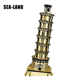 Kids Toys Wooden 3D Puzzle For Children Leaning Tower Of Pisa Montessori Educationaly Diy Toy Challenge IQ Gift For Kid Or Adult