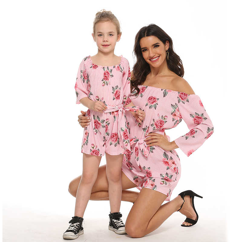 Rose overalls แม่ลูกสาวชุดชิ้น mommy และ ME เสื้อผ้าครอบครัวดู MOM MUM และทารกหญิงชุด