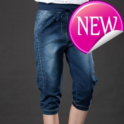 Jeans Summer Capris Stretch Plus Size Breeches Female Harem Denim Pants Elastic Wasit Loose 5xl Knee Length Mom Jeans Women
