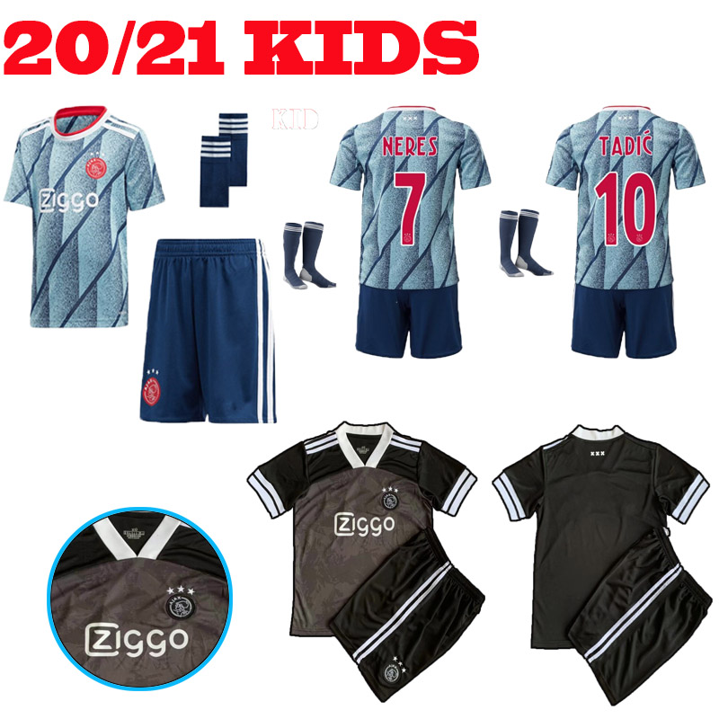 Top AjaxES 2020 2021 Soccer Jersey Kids Home Away Third NERES TADIC HUNTELAAR DE LIGT VEN DE BEEK Youth Football Shirt