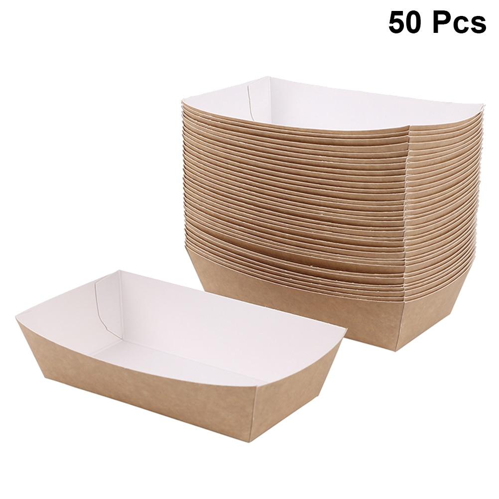 50 pièces étanche à l'huile boîte à gâteaux enduit papier de cuisson plateau alimentaire fournitures de fête pour mariage bébé douche fête d'anniversaire faveurs