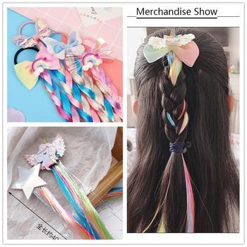 Girls Cute Colorful Wig Cartoon Unicorn Hair Clips Sweet Princess Ornament Headband Hairpins Kids Fashion Accessories