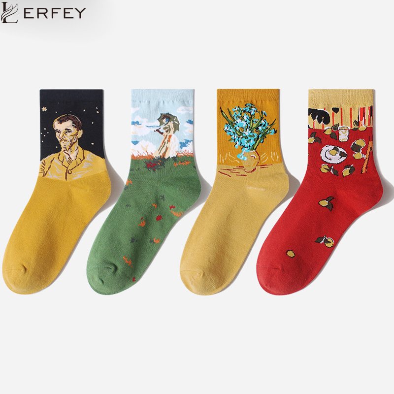 LERFEY Creative Harajuku Kawaii Happy Socks Men Women Cartoon Painting Print Funny Socks Cute Couples Casaual Sock