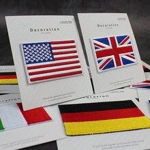1 PCS Estados Unidos Reino Unido Itália França Alemanha Tamanho Pequeno Bandeira adesivos Emblemas Bordados Ferro em Patch para Roupas DIY