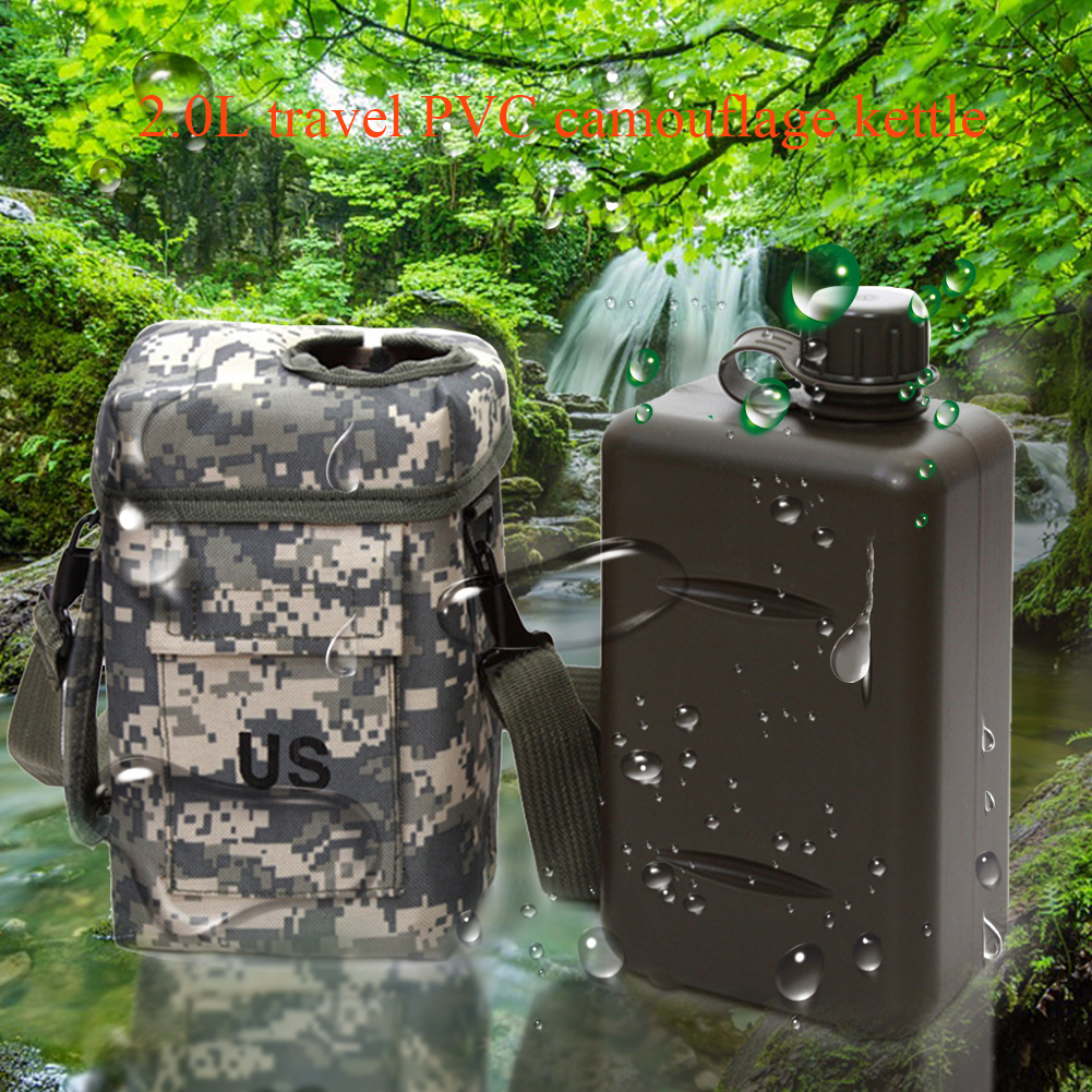 2L Hiking Large Capacity Canteen Thermal Military Outdoor Travel Durable Portable PVC Camping Sport Water Bottle Wear Resistant