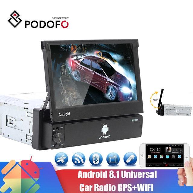 Podofo Radio Multimedia con GPS para coche, Radio con reproductor, Android, 1 Din, pantalla táctil de 7 pulgadas, navegación GPS, Wifi, Audio estéreo, Universal