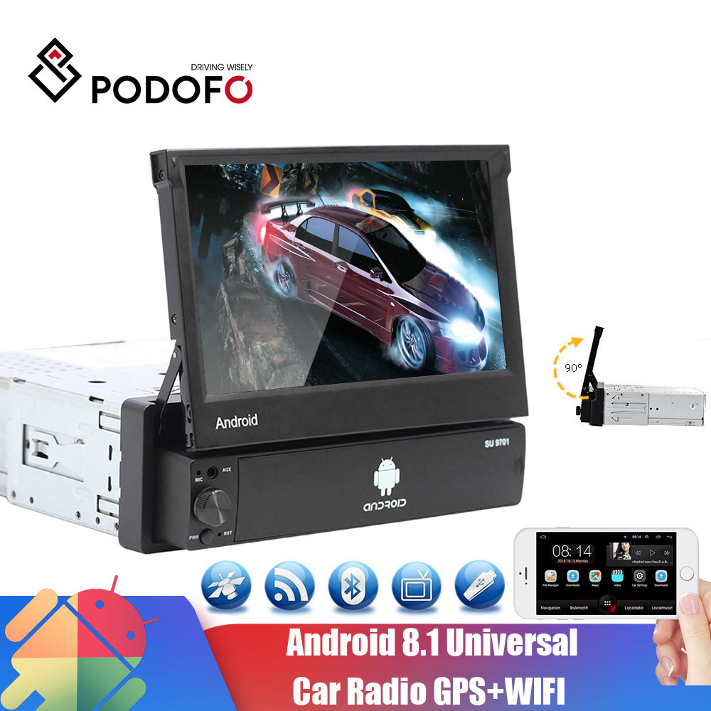 Podofo Android Car Radio Autoradio 1 Din 7'' Touch Screen Car Multimedia Player GPS Navigation Wifi Audio Stereo for Universal image