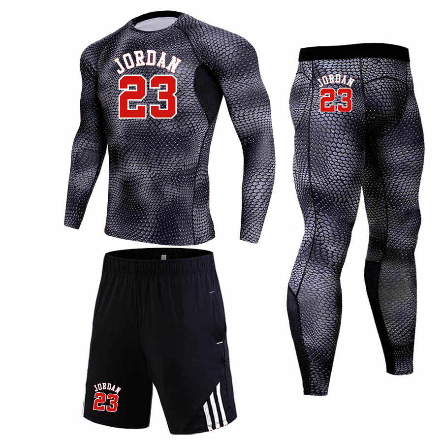 JORDAN 23 Mens Compression Sport Suit Men Basketball Training Tights Gym Fitness Running T-Shirt Sweatpants Athletic Shorts