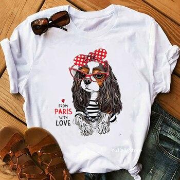 Harajuku kawaii divertido Cavalier Rey Charles spaniel mamá imprimir camiseta femme gráfico camisetas mujeres amantes de los perros regalo mujer Camisetas