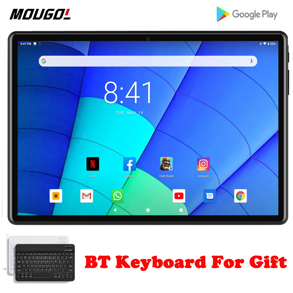 New 10.1 Inch Android 9.0 Tablet Pc Quad Core Google Play 3G Wifi Call Tablets GPS 2.5D Tempered Glass 10 Inch Tab With Keyboard