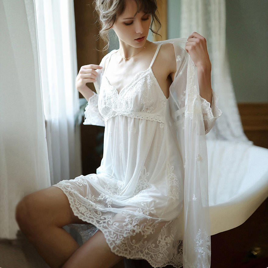 Sexy Mousse Sleep Wear White Dress Lace Embroidery Deep V Backless Mesh See Through Women Lingerie Bath Robe Sexy Wedding Use