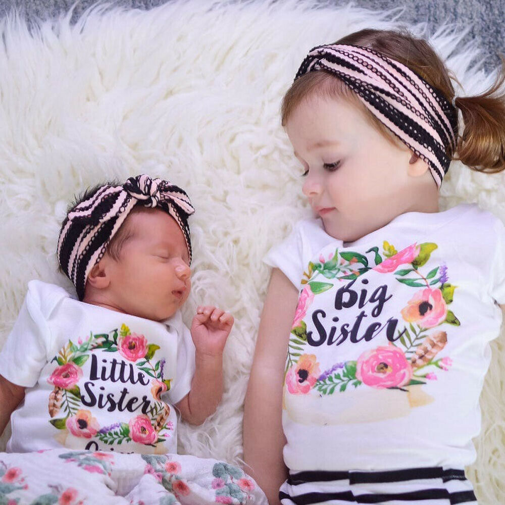 T-Shirt Matching Tops Floral-Letter Little-Sister Baby-Girl Kids Summer Big Short Cotton title=