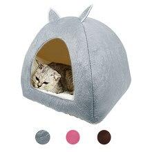 Gato Tenda Ninho Cama de Gato Inverno Mascotas Gatos Filhote de Cachorro Dobrável Interior Casa Caverna Pet Casa Com Almofada Macia Pelúcia лежанка для кошек