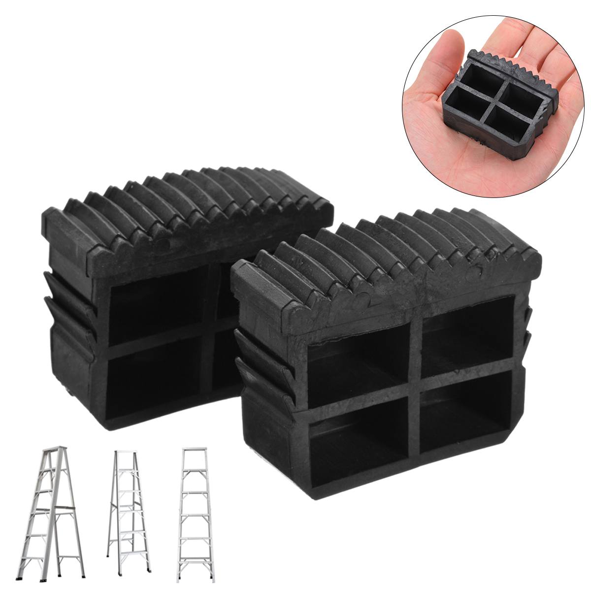 2pcs Black Rubber Step Ladder Feet Non Slip Folding Ladder Foot Replacement Grip Antiskid Inner Plug Cover Ladder Accessories