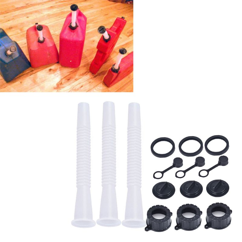 Super 3 Sets Replacement Gas Can Spout Parts Vent Cap Gasket Stopper Spout Cap