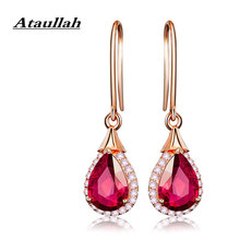 Ataullah Dangle Hanging Waterdrop Earring Red Ruby Drop Earrings Plated with 18K Rose Gold Gemstone Jewelry for Women EW044