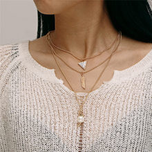 Multilayer Feather Imitation Pearls Geometric Choker Necklace Boho Vintage Pendant Long Women Jewelry