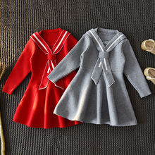 Детский вязаный свитер для девочек; Однотонное детское платье;