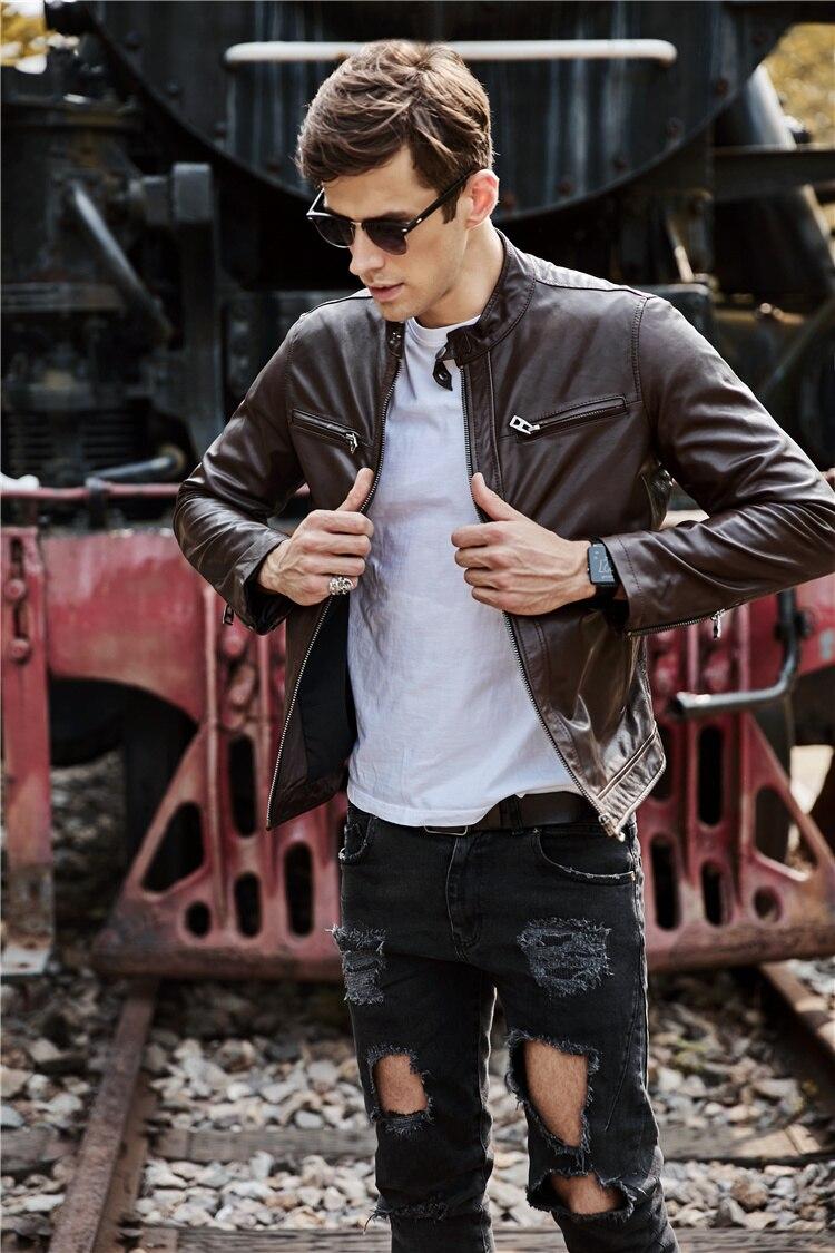 Free Shipping.100% Goatskin Leather Jackets,fashion Men's Genuine Leather Jacket,classic Slim Leather Coat.plus Size.biker