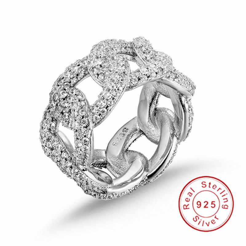 היפ הופ תכשיטי נוצץ הולו מתוך שרשרת ציור מלא יהלומי טבעת יוקרה 925 סטרלינג כסף לבן טופז טבעות לנשים גברים