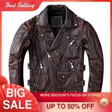 Chaqueta de cuero para motocicleta para hombre, abrigo de motociclista de talla grande 5XL, piel de vaca auténtica, Estilo Vintage americano, marrón, Otoño, 2021