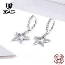 BISAER Bright Star Drop Earrings Genuine 925 Sterling Silver Dazzling CZ Earrings For Women Party Wedding Fashion Jewelry HSE593 star cz drop earrings