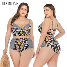 New Sexy Plus Size Swimsuit Floral Stripped Bikini Women Patchwork Padded Swimwear L-4XL Girl High Waist Bathing Suit Set