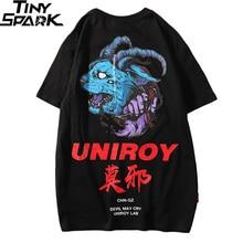 2019 T Shirt Blue Devil Men Hip Hop T Shirts Harajuku Streetwear Summer Tshirt Short Sleeve Cotton Tops Tees Back Print Hipster