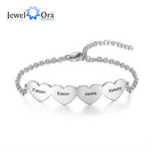JewelOra Customized 2-5 Hearts Charm Bracelets for Women Stainless Steel Personalized Engraved Bracelets Custom Jewelry Gifts