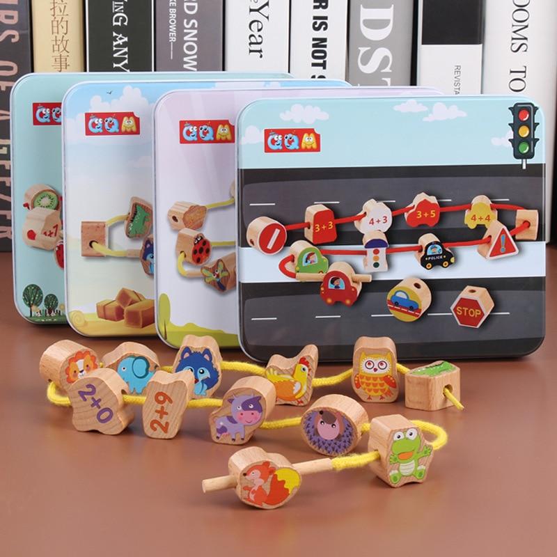 Children Beaded Bracelet Cartoon Iron Box Wooden Beads Threading Beaded Bracelet Educational Toy GIRL'S Baby Special Education