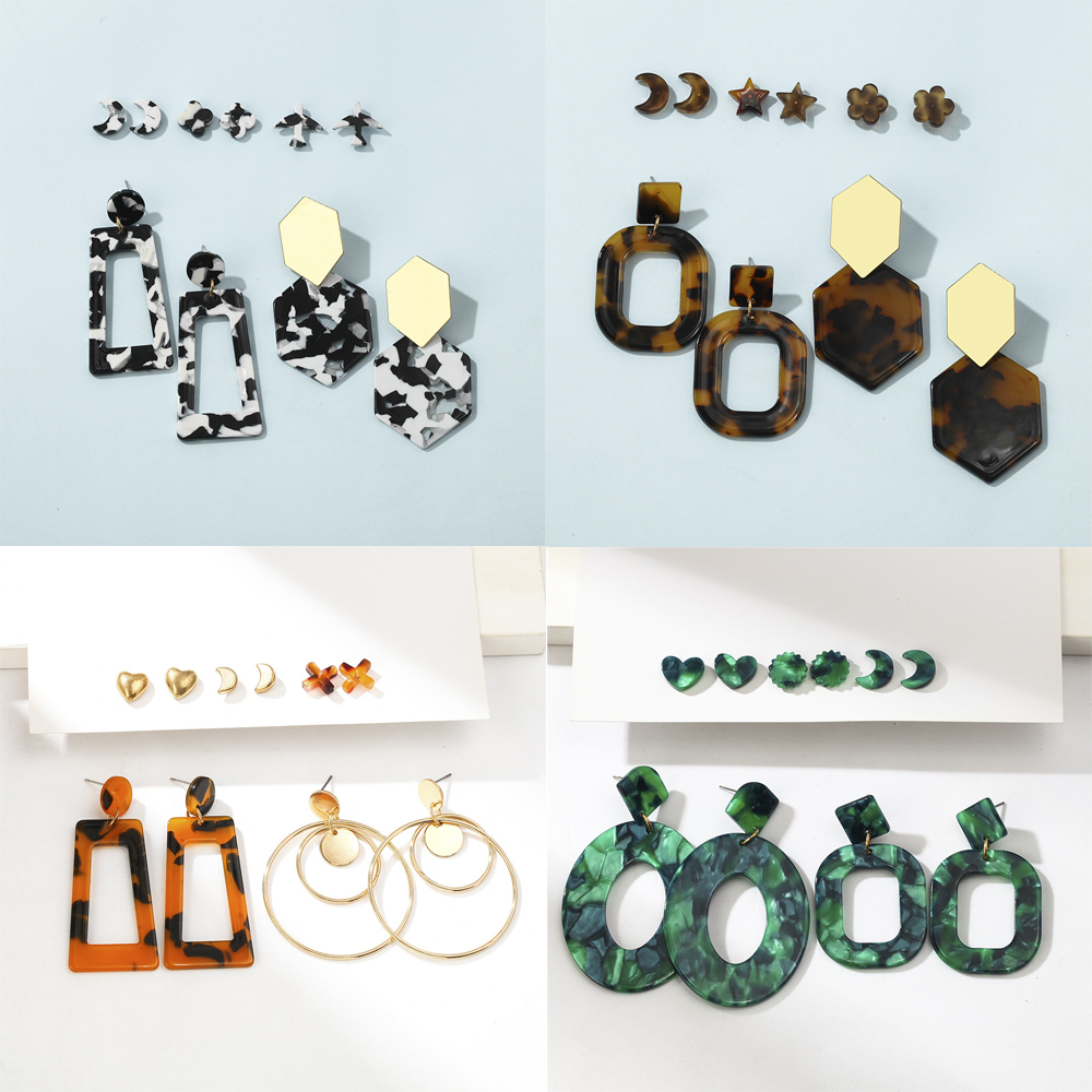 Fashion Women Large Stud Earrings Set Exaggeration Hollow Out Earrings for Women Moon Star Statement Jewelry Wholesale Jewelry