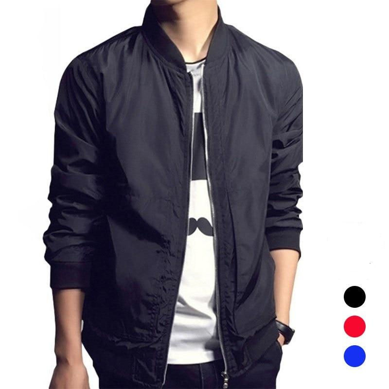 Nice Spring Autumn Casual Solid Slim Bomber Jacket Men Overcoat Baseball Thin Coat Men Streetwear Windbreaker College Jacket