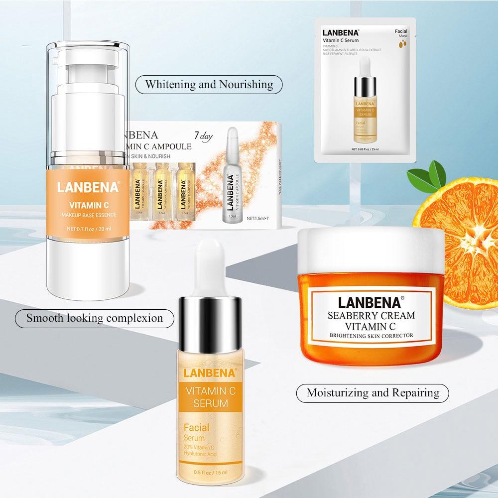 LANBENA Skin Care Face Mask Vitamina C Whitening Cream Face Makeup Primer Face Serum Face Cream Facial Masks Vitamin C Serum