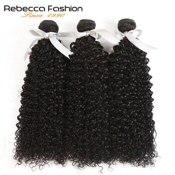 Rebecca brazylijskie kręcone włosy 100% doczepy z włosów typu remy 1/3/4 zestawy Deal 8 do 30 Cal perwersyjne kręcone włosy wyplata wiązki ludzkich włosów