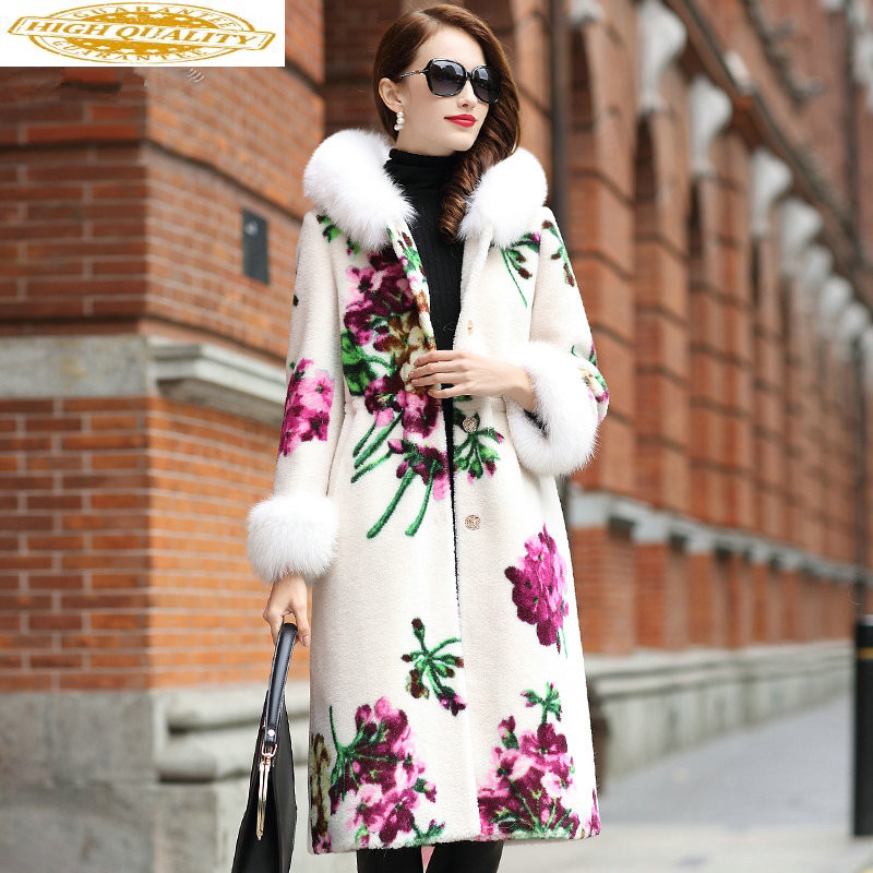 Real Sheep Shearling Fur Coat Female Fox Fur Collar Real Wool Coats 2020 Winter Jacket Women Floral Korean Long Coat MY